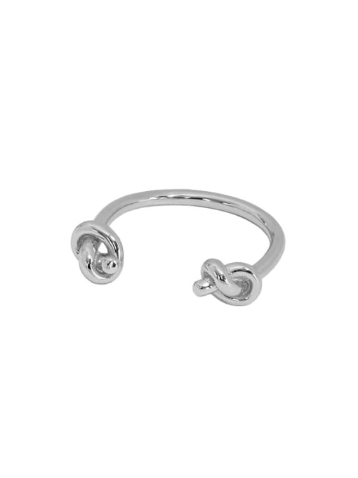 Art006 [platinum] 925 Sterling Silver Hollow knot Vintage Band Ring